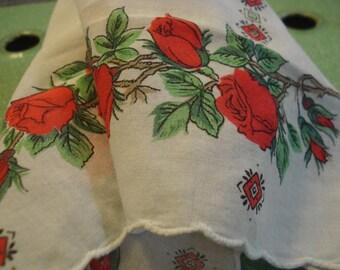Vintage  Handkerchief # Floral # Red Roses #  Fleamarketbuzz