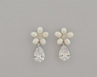 ODETTE Cubic Zirconia and Ivory Pearl Bridal Earrings