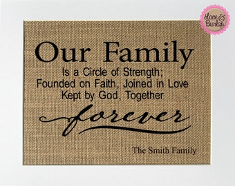 Our Family Is A Circle Of Strength; Founded On Faith; Joined In Love; Kept By God; Together Forever -Smith Family CUSTOM / Burlap Sign
