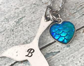 Beach girl - Hand stamped jewelry - Mermaid necklace - Hand stamped necklace - I'm really a mermaid - Mermaid jewelry - Mermaid tail