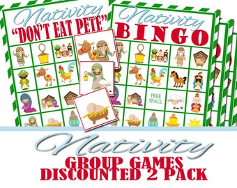 Nativity Christmas Bingo and Don't Eat Pete Combo Pack, Group Game, Church Christmas Party, Religious Game, Christian Game, Church Bingo