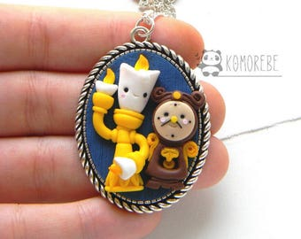 Lumière and Cogsworth, the Beauty and the Beast, cameo necklace