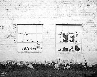 Black White fine art photography, minimalist wall art, Be Happy, old white brick building, Arizona,  rustic, vintage,  photogrpahy print