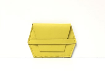 Leather card case // yellow wallet // unique gift // leather wallet //  More Colors