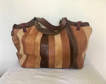 Vintage Lucky Brand Patchwork Leather Hobo Style Shoulder Bag Purse, Item No H213