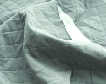 Quilted French Terry Knit Fabric Grey By The Yard