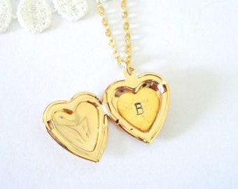 Add Hand Stamped Initial - Into a Locket, Customise Jewelry, Personalised Jewelry, Heart Locket, Gift for Her