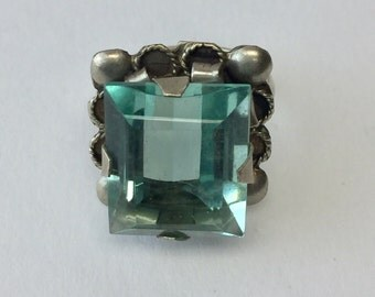 Aquamarine Emerald Cut Glass Stone Alpaca Silver Vintage Costume Ring Size 5