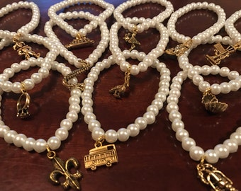 New Orleans/Louisiana Wedding Cake Pulls/Bracelets/Favors