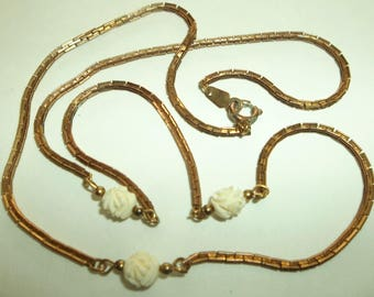 Vintage 60's Gold chain floating Carved Celluloid Floral beads
