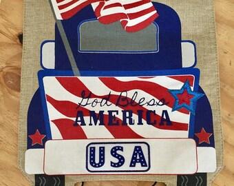 Monogrammed God Bless America Garden Flag