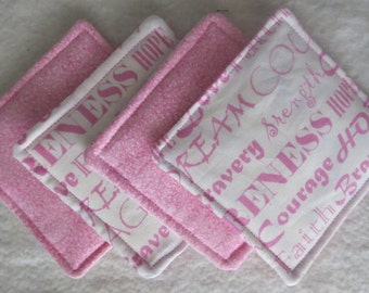 Breast Cancer Awareness themed drink coasters set of 4
