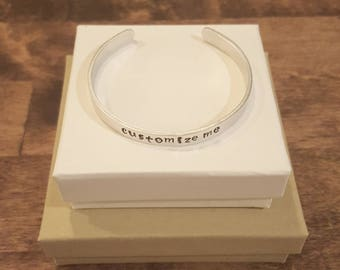 Customizable Hand-stamped Cuff Bracelet