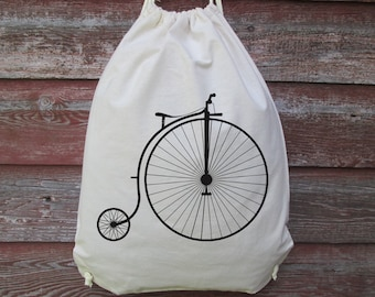 Vintage Bicycle Backpack, Drawstring Backpack, High Wheel Bicycle, High Wheeler Bicycle, Vintage Bicycle, Penny Farthing Bicycle, Backpack