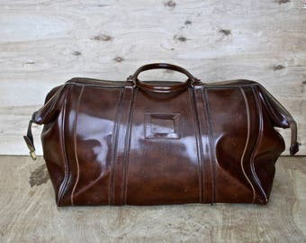 Vintage Vegan Brown Duffel/ c. 1950s/ Vintage Luggage/ Travel Bag/ Carry-On
