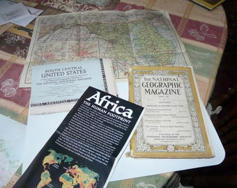 1927 national geographic  April  and  3 vintage maps