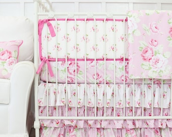 Shabby Chic Rose Ruffle Baby Girl Bedding Set, Vintage Baby Bedding, Shabby Chic Crib Bedding, Ruffle Rose Bedding