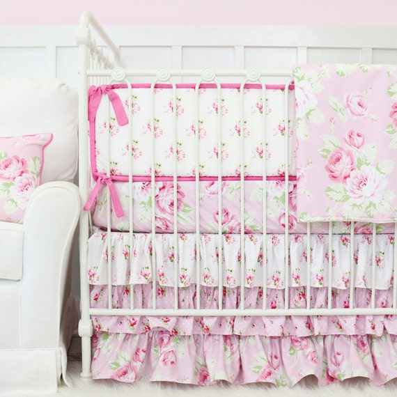 Shabby Chic Rose Ruffle Baby Girl Bedding Set Vintage Baby