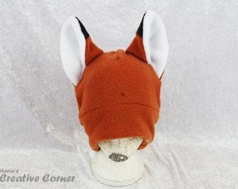 Fox Fleece Hat - Redish Brown Cute Cosplay Ear Flaps  Adult Teen Clothing