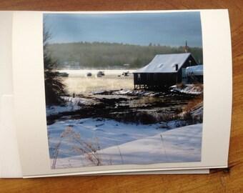 Original Color 4x4 Photo - Round Pond Harbor - Bristol - Maine - Greeting Card