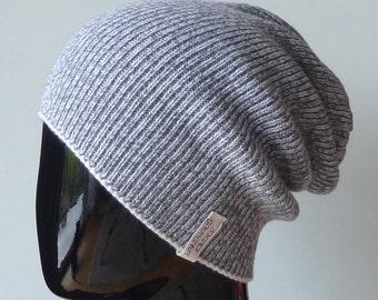 Beanie hat made from fine Italian Merino Wool in silver grey