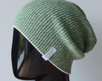 Beanie hat made from fine Italian Merino Wool in green