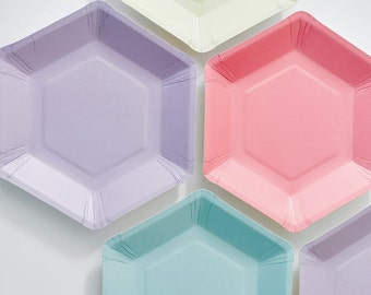 48 modern and trendy Hexagonal shaped Pastel Paper Plates.