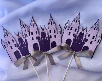 Princess Castle Centerpieces stick,Purple and silver Castle/  Princess Castle/ Princess theme