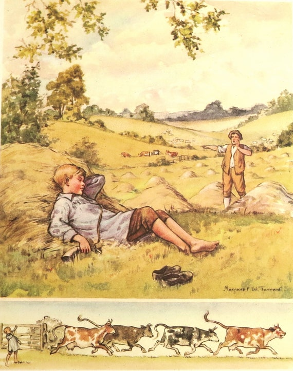 1950s children's nursery rhyme print, book illustration of Little Boy Blue by Margaret Tarrant, matted and mounted, 14 x 11 inches