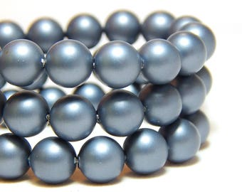 8mm Steel Blue Shell Pearls, 8mm Blue Pearls, 8mm Blue Gray Beads, Matte Blue Beads, Blue Gray Beads, 8mm Shell Pearls, Frosted Beads, B-56B