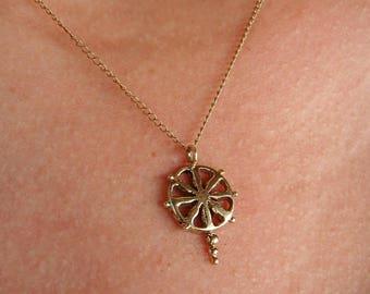 Dharma boat wheel Pendant ,boat wheel necklace, gold necklace, Buddhist necklace, boat helm charm, yoga necklace, dharma wheel, bodhha