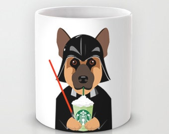 Personalized mug cup designed PinkMugNY - I love Starbucks - German Shepherd wearing a Darth Vader costume