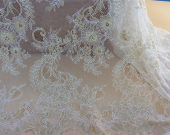 Gold Chantilly Lace Fabric ,3yards high quality eyelash lace fabric Bilateral Eyelash Lace, French Style Wedding Dress  lace