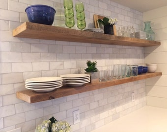 RECLAIMED WOOD FLOATING Shelves + Steel Brackets Made to Order