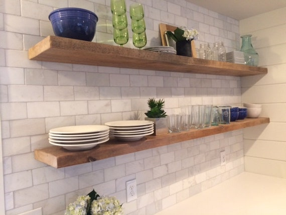 Reclaimed Wood And Metal Wall Shelves: HEAVY-DUTY RECLAIMED Wood Floating Shelves Steel Brackets