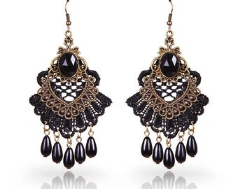 Romantic Lace Chandelier Earrings with Gem Stone & Beads