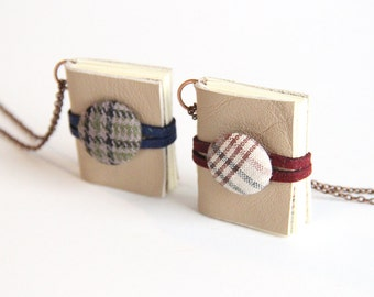Leather Book, Vintage Style, Miniature Book Necklace, Handmade Book, Bookworm, Long Necklace, Tweed Buttons, Red and Blue Plaid, Tan Leather