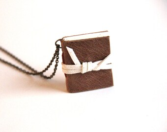 Leather Book, Literary Gift, Miniature Book Necklace, Brown Leather Journal, Bookworm, Notebook, Book Lover, Rustic Necklace, Leather Charm