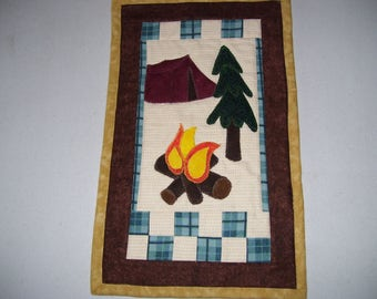 Camping quilt-small camping quilt for apartment or cubicle-tiny quilt-machine quilted and appliqued