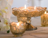 Gold Mercury Glass Vase Wedding Centerpieces Pedestal Faux Mercury Vase Wedding Centrepiece Pedestal Compote Distressed Candleholder