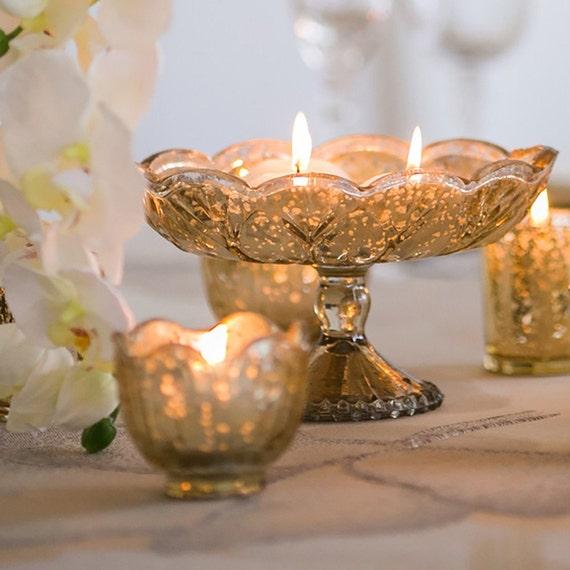 Mercury glass vase wedding centerpiece pedestal silver