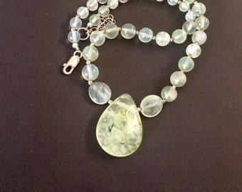 Vintage Prasiolite Beads, Sterling Silver , 18 Inches Long Necklace.