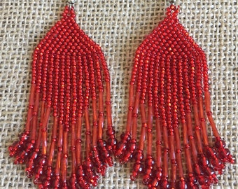 Red Beaded Pyramid Earrings