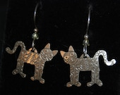 Vintage Cut Out Kitty Cat Floral Flowers Fish Bone Sun Shine Moon Stars Embossed Unmarked Sterling Earrings French Wires #BKC-KERNG97