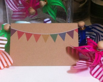 """Brown Kraft Cards """"Party Bunting"""" Pack of 10, Gift Tag, Name Tag, DIY Wedding, Embellishment, Scrapbooking,Party Supplies,florist supplies"""