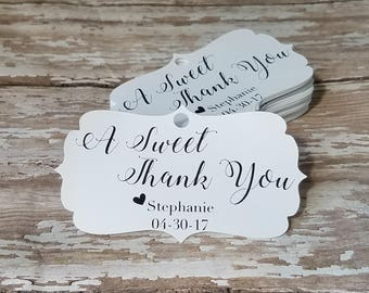 A Sweet Thank You, Bridal Shower Tag, Baby Shower Tag, Love is Sweet, Ornate Wedding Tag, Bridal Shower, Wedding Shower (182)