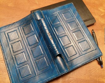JOURNAL-SKETCHBOOK Cover -LEATHER-River Song Journal-Tardis-Personalized-Moleskine-with built in Pen Quiver/Holder on Spine-clbLeatherDesign