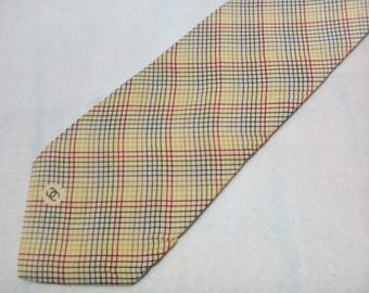 Vintage Chanel Paris Necktie Checks Pattern Tie Made In Italy