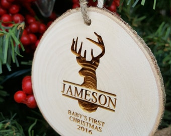 Deer Christmas Ornament - First Christmas Ornament - Engraved Wood Slice Ornament - Personalized Ornament