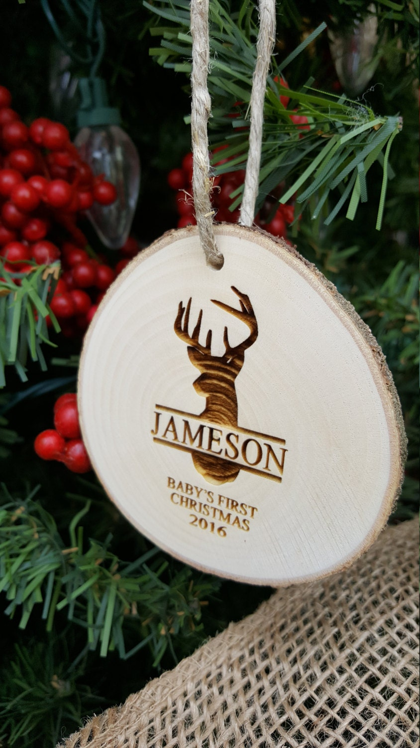 Deer Christmas Ornament  First Christmas Ornament  Engraved Wood